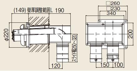 【最安値挑戦中!最大23倍】ガス給湯器 部材 リンナイ FFTL-10-200C φ100 2本管直出給排気トップ (L=150~250mm) [≦]