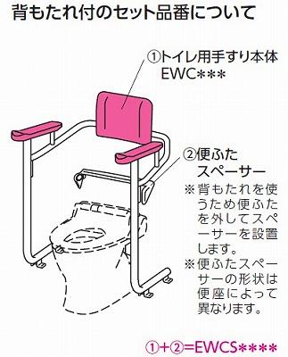 【最安値挑戦中!最大34倍】トイレ用手すり TOTO EWCS222K システムタイプ 背もたれ付 取り付け対象便器 G('97型) [♪■]