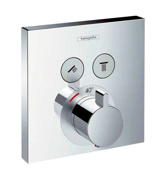 【最安値挑戦中!最大25倍】セラトレーディング HG15763S Shower Select サーモスタット式埋込形湯水混合栓カバー部(止水・切替機能付) クロム [■]