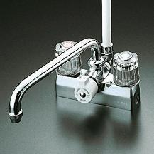 【最安値挑戦中!最大23倍】シャワー水栓 KVK KF205Z デッキ形一時止水付2ハンドルシャワー 寒冷地用 取付ピッチ100mm