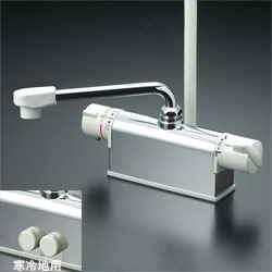 【最安値挑戦中!最大24倍】シャワー水栓 KVK KF771NR3 デッキ形サーモスタット式シャワー 取付配管ピッチ85mmタイプ 300mmパイプ付