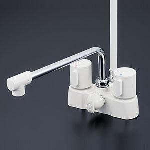 【最安値挑戦中!最大25倍】水栓金具 KVK KF2008ZG3 デッキ形2ハンドルシャワー 寒冷地用