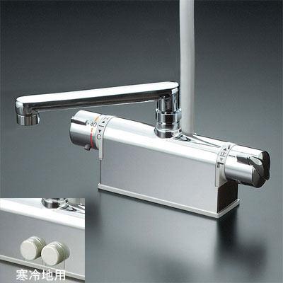 【最安値挑戦中!最大25倍】シャワー水栓 KVK KF771TS2 浴室シャワー水栓 デッキ形サーモスタット式シャワー フルメッキワンストップシャワーヘッド付 190mmパイプ仕様