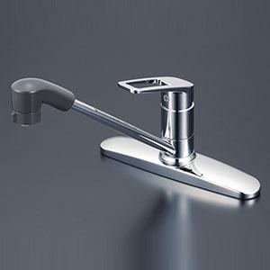 【最安値挑戦中!最大25倍】水栓金具 KVK KM5006TF 台付シングルレバー式シャワー付混合栓(コインスロット)