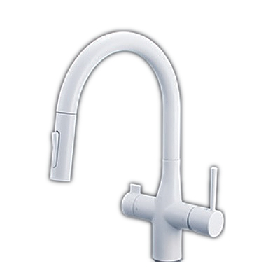 【最安値挑戦中!最大25倍】KVK KM6081SCECM4 浄水器付グースネックシングルレバー式シャワー付混合栓 eレバー マットホワイト
