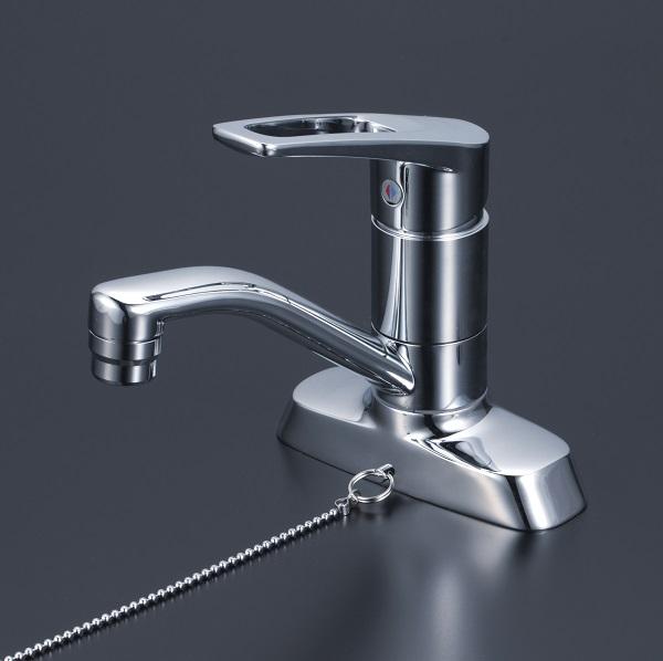 【最安値挑戦中!最大25倍】KVK KM7004TGS 洗面用シングルレバー式混合栓 ゴム栓付
