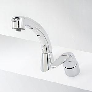 【最安値挑戦中!最大25倍】水栓金具 KVK KM8019T シングルレバー式洗髪シャワー 傾斜タイプ