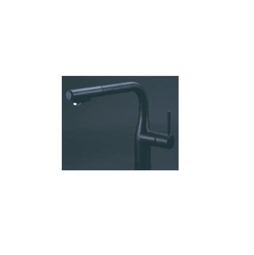 【最安値挑戦中!最大25倍】KVK KM6111ECM5 シングルレバー式シャワー付混合栓(センサー付) マットブラック eレバー