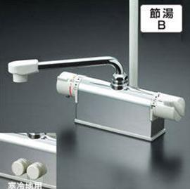 【最安値挑戦中!最大24倍】シャワー水栓 KVK KF771R3 デッキ形サーモスタット式シャワー 取付配管ピッチ100mmタイプ 300mmパイプ付