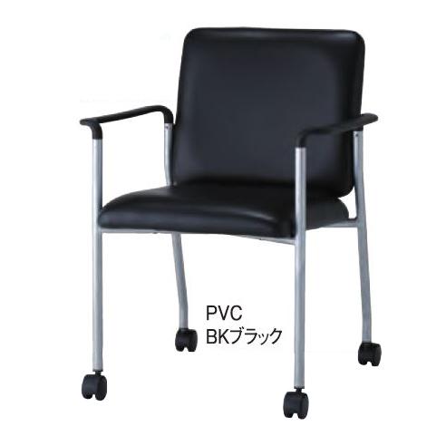 井上金庫 BAS-P420A ミーティングチェア 肘付 PVCタイプ ブラック [【店販】♪▲]