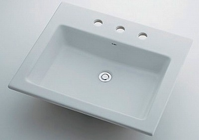 【最安値挑戦中!最大24倍】カクダイ 【493-009】 JEWEL BOX Luju 角型洗面器 3ホール [♪■]