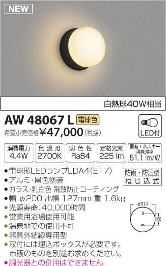 【最安値挑戦中!最大33倍】コイズミ照明 AW48067L 浴室灯 LEDランプ交換可能型 防雨・防湿型 電球色 [(^^)]