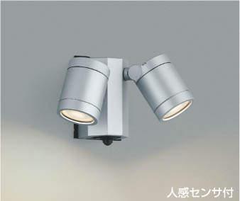 【最安値挑戦中!最大25倍】コイズミ照明 AU43322L アウトドアスポットライト 人感センサ タイマー ON-OFF 白熱球60W×2灯相当 LED一体型 電球色 防雨 シルバー