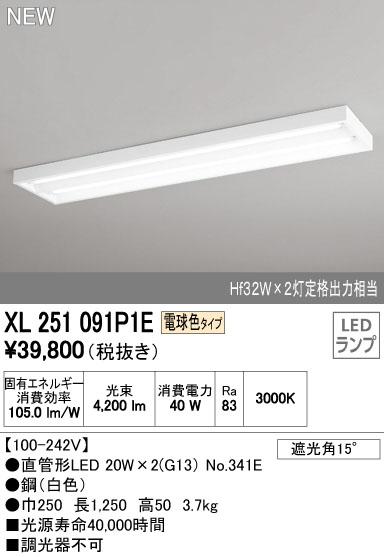 【最安値挑戦中!最大33倍】照明器具 オーデリック XL251091P1E(ランプ別梱) ベースライト 直管形LEDランプ 直付型 下面開放型 2灯用 電球色 [(^^)]