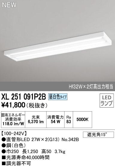 【最安値挑戦中!最大23倍】照明器具 オーデリック XL251091P2B(ランプ別梱) ベースライト 直管形LEDランプ 直付型 下面開放型 2灯用 昼白色 [(^^)]