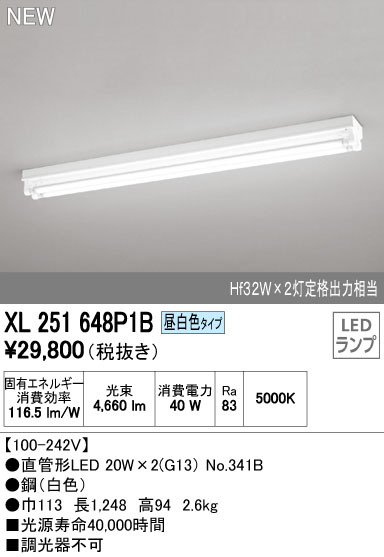 【最安値挑戦中!最大33倍】照明器具 オーデリック XL251648P1B(ランプ別梱) ベースライト 直管形LEDランプ 直付型 トラフ型 2灯用 昼白色 [(^^)]