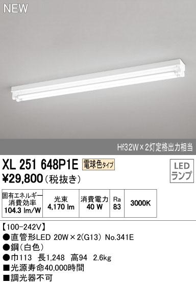 【最安値挑戦中!最大33倍】照明器具 オーデリック XL251648P1E(ランプ別梱) ベースライト 直管形LEDランプ 直付型 トラフ型 2灯用 電球色 [(^^)]