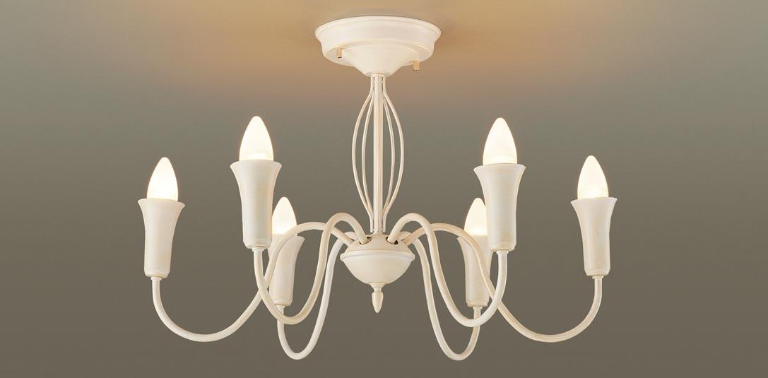 【最大44倍スーパーセール】パナソニック LGB57647 シャンデリア 天井直付型 LED(電球色) 40形電球6灯相当 ホワイト ランプ同梱包