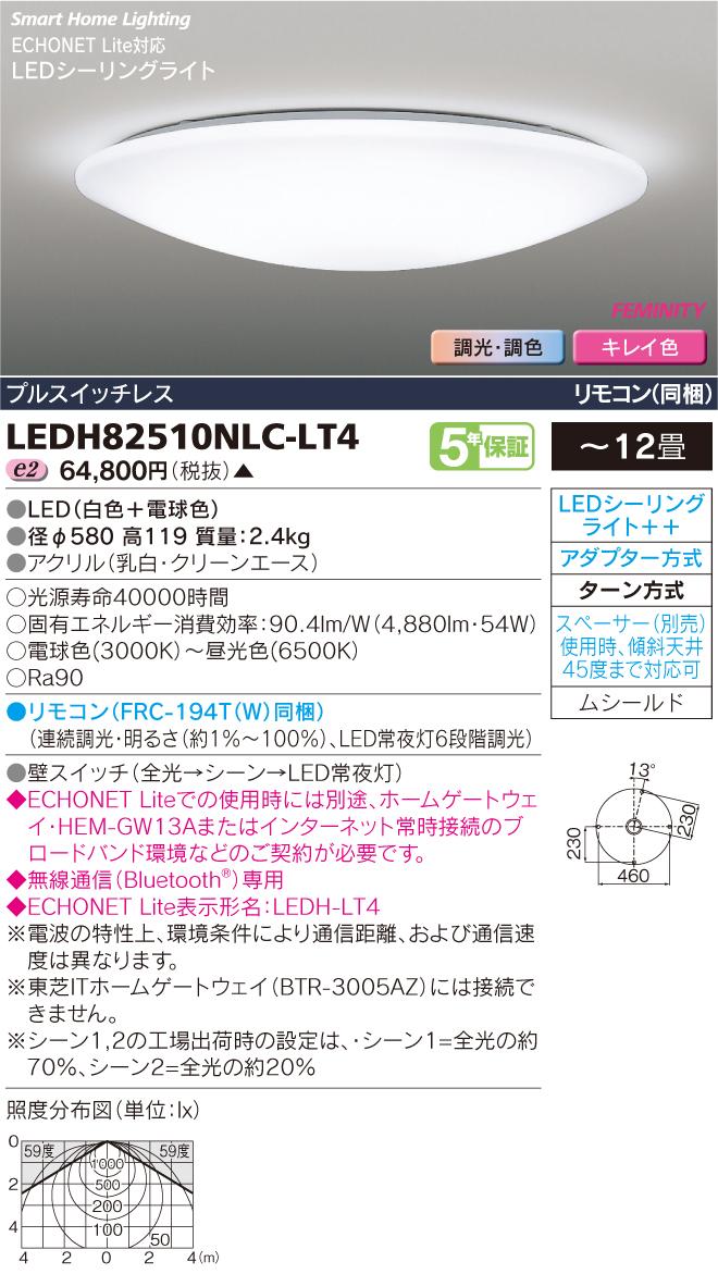 【最安値挑戦中!最大33倍】東芝 LEDH82510NLC-LT4 HEMS対応LEDシーリングライト 調光・調色 プルスイッチレス リモコン同梱 ~12畳 受注生産品 [(^^)§]