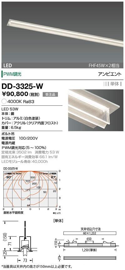 【最安値挑戦中!最大24倍】山田照明(YAMADA) DD-3325-W LED一体型ベースライト PWM調光 白色 単体 受注生産品 [∽§]