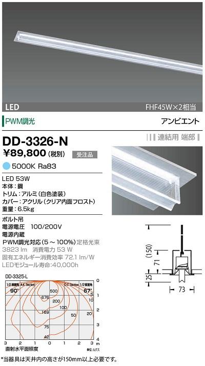 【最安値挑戦中!最大30倍】山田照明(YAMADA) DD-3326-N LED一体型ベースライト PWM調光 昼白色 連結用 端部 受注生産品 [∽§]