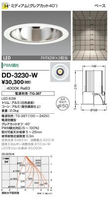 【最安値挑戦中!最大33倍】山田照明(YAMADA) DD-3230-W ダウンライト LED一体型 PWM調光 白色 配光34° 電源別売 [∽]