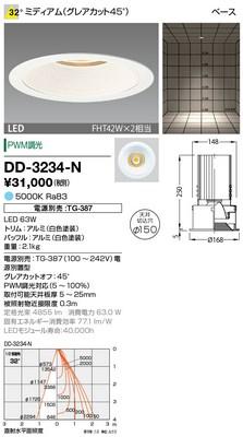 【最安値挑戦中!最大33倍】山田照明(YAMADA) DD-3234-N ダウンライト LED一体型 PWM調光 昼白色 配光32° 電源別売 [∽]