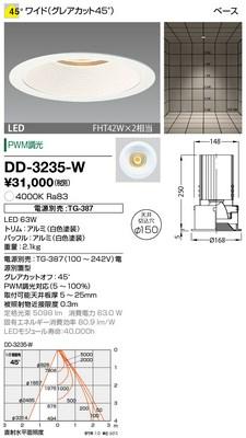 【最安値挑戦中!最大33倍】山田照明(YAMADA) DD-3235-W ダウンライト LED一体型 PWM調光 白色 配光45° 電源別売 [∽]
