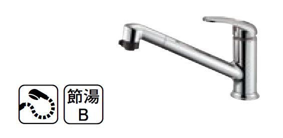 【最安値挑戦中!最大34倍】水栓金具 三栄水栓 K87101JV-13 シングルワンホールスプレー混合栓 [□]