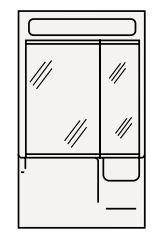 【coordiroom】クリナップ ミラーキャビネット(2・3面鏡) M-602HV BTSシリーズ 間口60cm 蛍光灯 奥行15.5cm 高さ101cm [♪△]