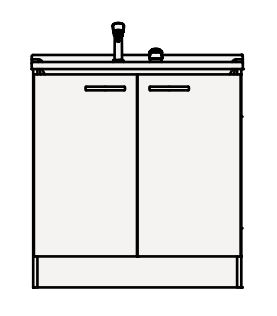 【coordiroom】クリナップ 洗面化粧台 BGAL75TNMWW BGAシリーズ 間口75cm 開きタイプ ツインハンドル水栓 スタンダード 奥行50cm 高さ82.5cm [♪▲]
