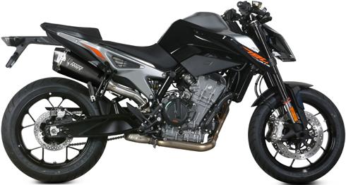 KTM 790DUKE 18-【MIVV】(ミヴ)DELTA スリップオン ブラックステンレス カーボンエンド
