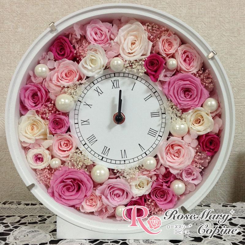 プリザーブドフラワー 時計 花時計 お祝い ギフト 結婚祝い 新築祝い  ブライダル 記念日 フレーム壁掛け 還暦祝い バースデープレゼント ピンク ◇