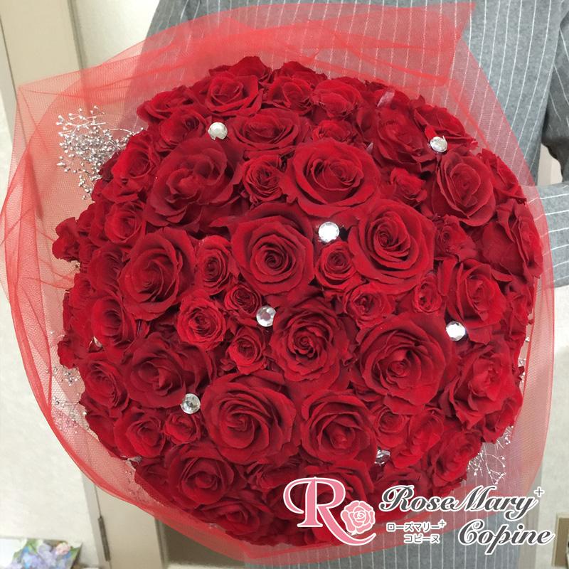 プリザーブドフラワー バラ100本 プロポーズ  真紅のバラ ウェディング 結婚式 花嫁 ブーケ ジューンブライド プレゼント お祝い ギフト ボールブーケ ◇