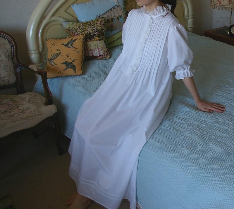 Katsue Desgin ネグリジェ スワン ホワイト 半袖 ワンピース コットン お部屋着 パジャマ ナイトウェア ルームウェア プリンセス 綿 日本製