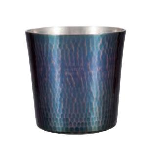 手打ちロックカップ 銅 贈答品 青被仕上げ 純銅鎚目ロックカップ 爆安 新光堂 新光金属 COPPER100