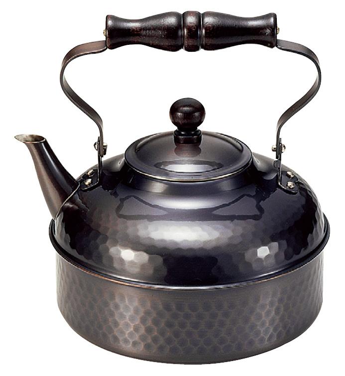 ケトル 超特価 湯沸し 銅 鎚目湯沸し 2リットル COPPER100 送料無料 新光堂 新光金属 定番 黒銅仕上げ