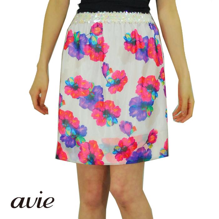 【SALE40%】avie アビィレディス ネオンフラワー スパンコールゴムスカート ホワイト 花柄スカート (春夏)【正規品】 【30】【メール便可】
