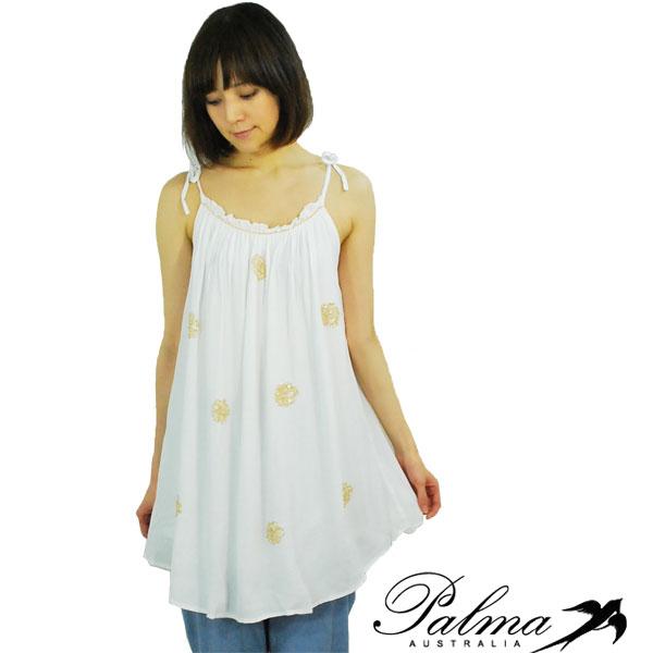 Palmaパルマレディス ホワイトキャミチュニック ゴールドビーズ装飾スモックドレス Circle beads smock dress【正規品】【30】【送料無料】【メール便可】