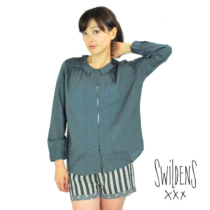 SWILDENS スウィルデンズレディス レースブラウス シャツ 襟刺繍 チャコール IDYLLE 【正規品】【40】【メール便可】