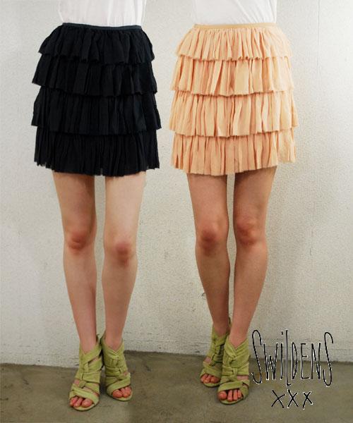 SWILDENS スウィルデンズレディス シルクティアードスカート ミニスカート ブラック/ヌードカラー (春夏)【正規品】【40】【メール便可】