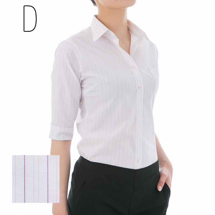Shirt blouse 5-sleeve アクティブスリーブ ( white shirt-blouse / women's shirts / staple / white shirt / plain / Office / blouse short sleeve / uniform )