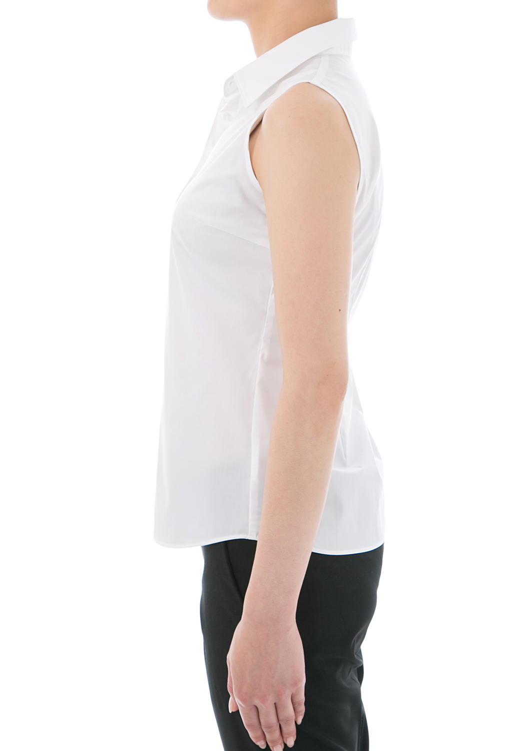 Shirt blouse stretch sleeveless ( white shirt-blouse / women's shirts / classic / sleeveless shirt / plain / Office / stretch / uniform )