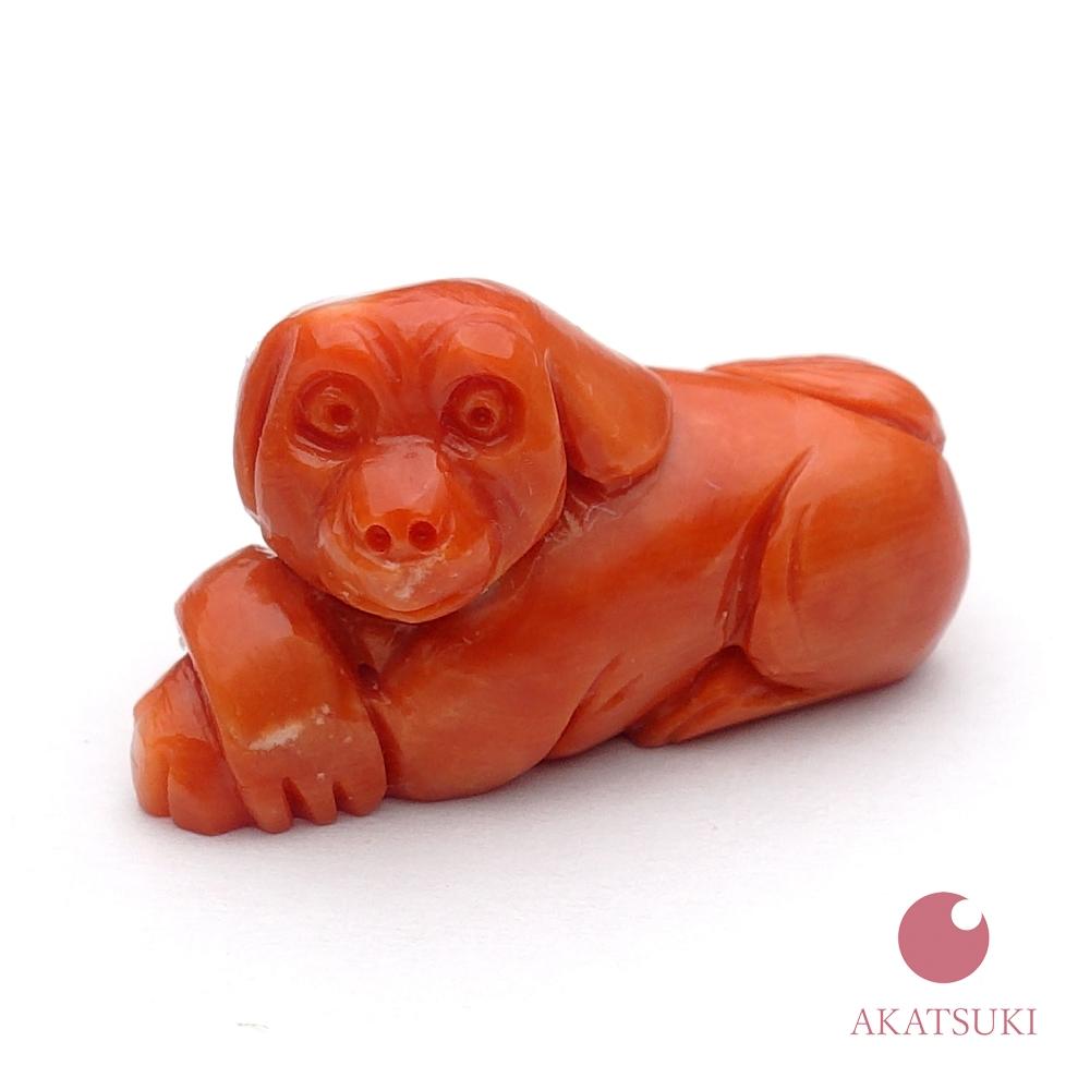 【縁起物】【選べる根付紐】【谷口康隆】日本産桃珊瑚 犬 彫り物  根付 3月の誕生石 お守り サンゴ coral 結婚35周年 珊瑚婚 出産祝い  ストラップ モモイロ珊瑚 干支