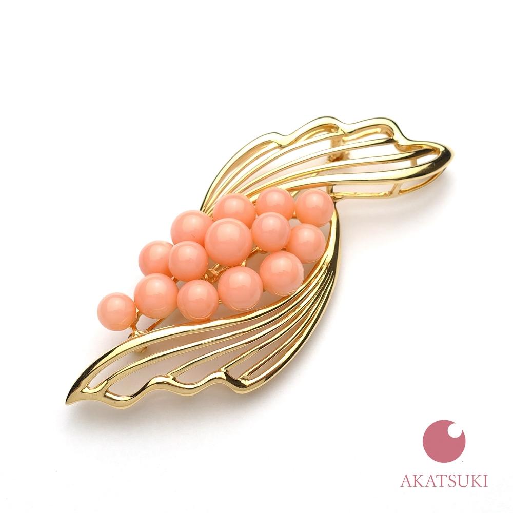 ピンク珊瑚 5~7mm K18 ブローチ 3月の誕生石 お守り さんご サンゴ coral 結婚35周年 珊瑚婚 出産祝い ゴールド 18金 ジュエリー アクセサリー 女性用 レディース