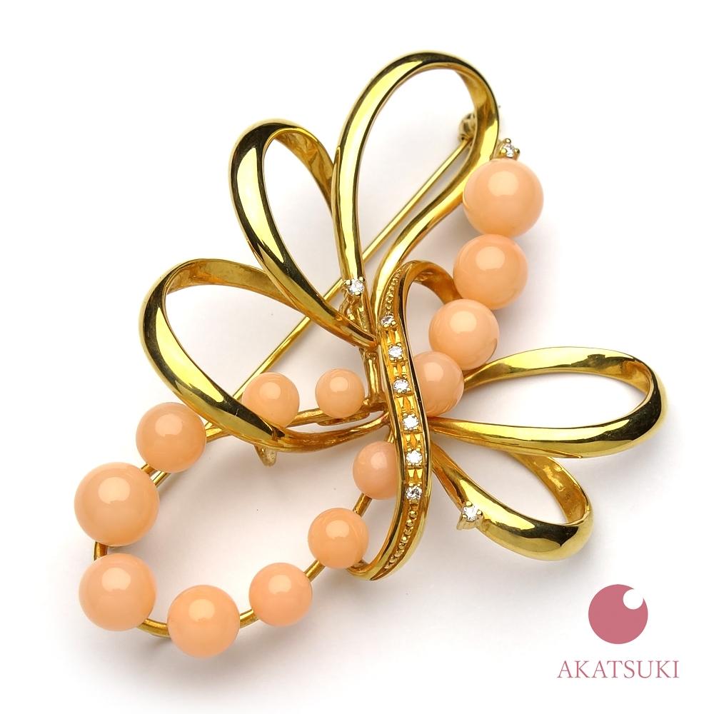ピンク珊瑚 4~6.9mm K18 ブローチ 3月の誕生石 お守り さんご サンゴ coral 結婚35周年 珊瑚婚 出産祝い ゴールド 18金 ジュエリー アクセサリー 女性用 レディース