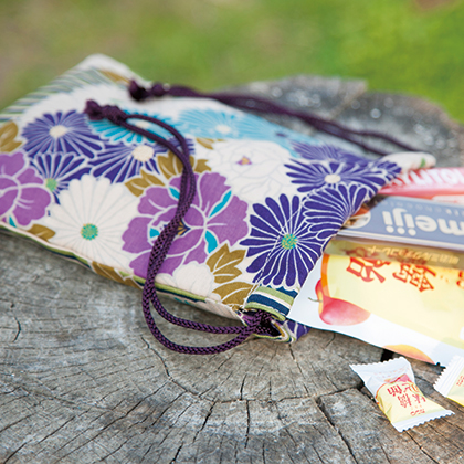 DrawString bag retro flower Japanese pattern 25 x 19 cm / nokyo-sho book bag / nokyo-sho book case / pouch / women's / men's / yukata / large / small 信玄袋