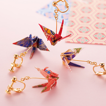 Noren Kyoto Gion Folded Paper Crane Earrings Origami