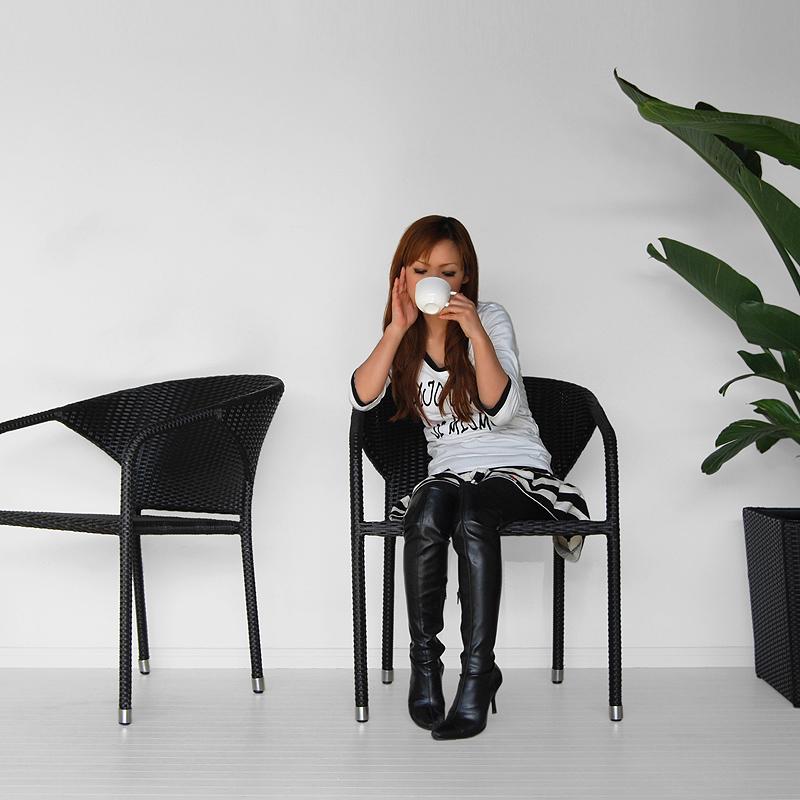 ★送料無料 シンセティックラタン【マイアミ】アームチェア アジアン家具