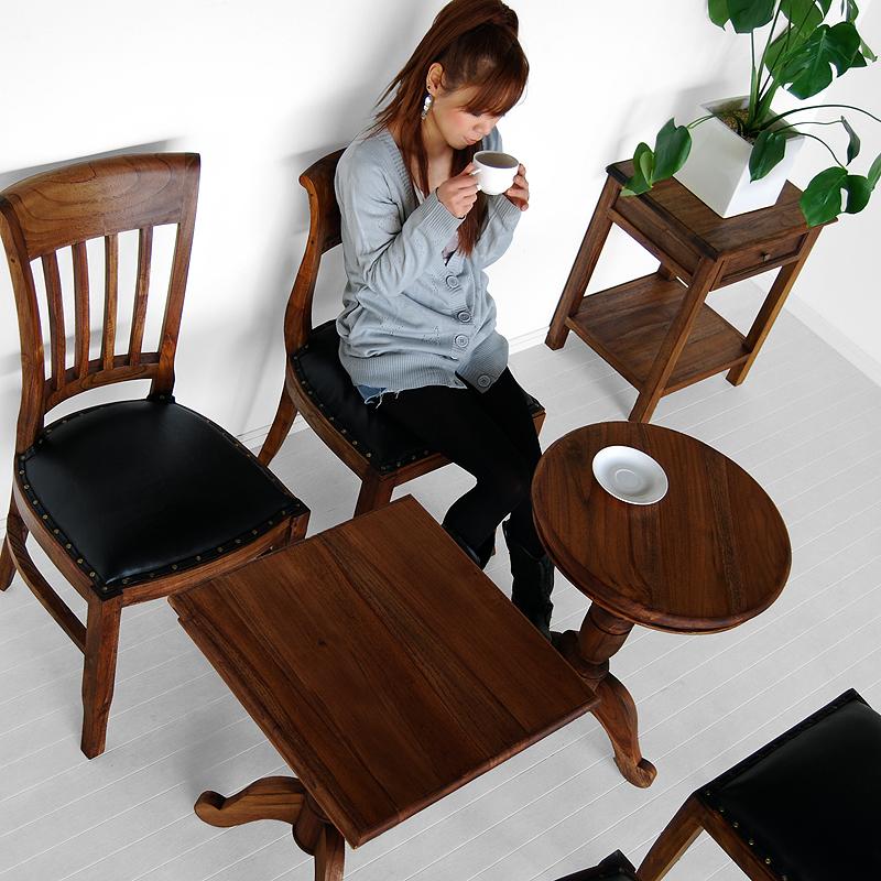 ★送料無料 チーク【スクエア・ラウンド】サイドテーブル アジアン家具
